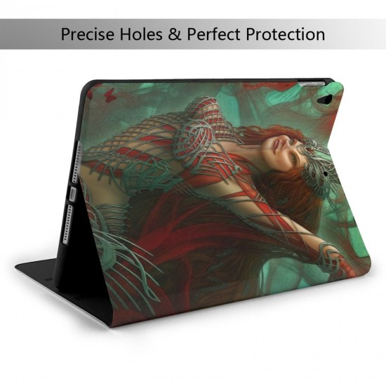 """Fantaisie Goddess Papillon Red Hair Woman IPad 7th Generation 10.2 Inch Multi-Angle Viewing Folio Smart Stand Cover Auto Wake/Sleep for IPad 10.2"""" Tablet"""