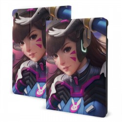 """D.Va Overwatch IPad 7th Generation 10.2 Inch Multi-Angle Viewing Folio Smart Stand Cover Auto Wake/Sleep for IPad 10.2"""" Tablet"""