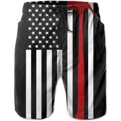 Men's Fire Fighter Thin Red Line American Flag Summer Beach Shorts Leisure Quick Dry Swimming Pants